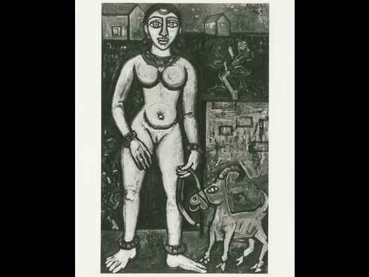 image of F N Souza - Girl with Goat - press print