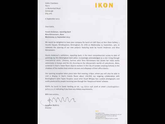 image of Hurvin Anderson: Reporting Back - letter from Ikon Gallery