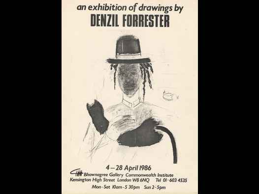 image of an exhibition of drawings by Denzil Forrester - poster/brochure