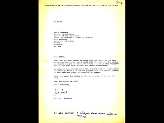 image of Letter to Eddie Chambers