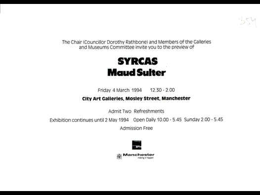 image of Syrcas | Maud Sulter - Manchester City Art Gallery invite