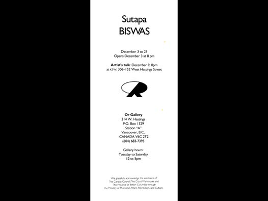 image of Sutapa Biswas | Synapse - Or Gallery, Vancouver, card