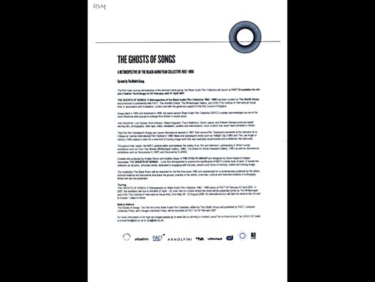 image of The Ghosts of Songs press release