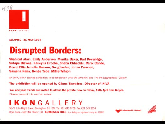 image of Disrupted Borders - Ikon Gallery invite card