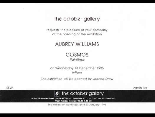 "image of Aubrey Williams ""Cosmos"" Series opening view card"