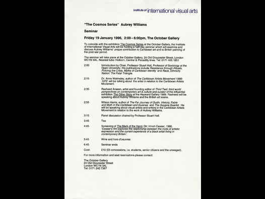 "image of Aubrey Williams ""The Cosmos Series"" 1996, Seminar schedule"