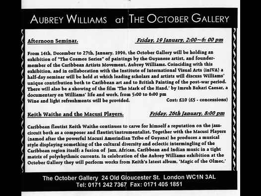 image of Aubrey Williams The Cosmos Series flyer