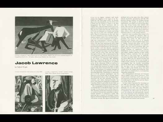 image of Jacob Lawrence: article in The Studio magazine 1961