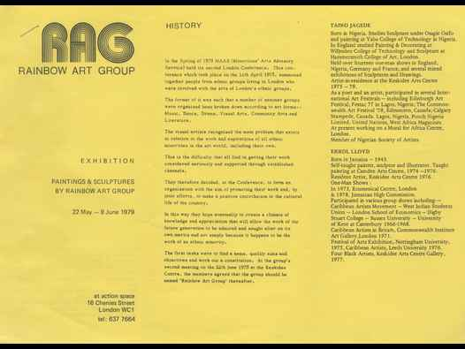 image of Rainbow Art Group exhibition leaflet (Action Space)